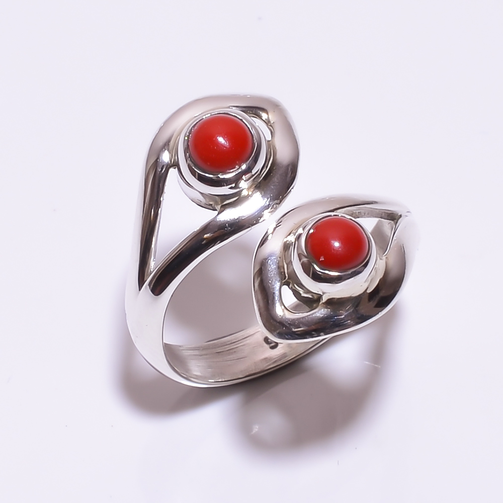 925 STERLING SILVER CORAL BEAUTIFUL RING