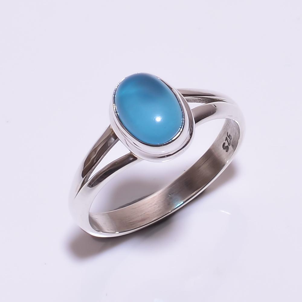 925 STERLING SILVER AQUA CALCITE BEAUTIFUL RING