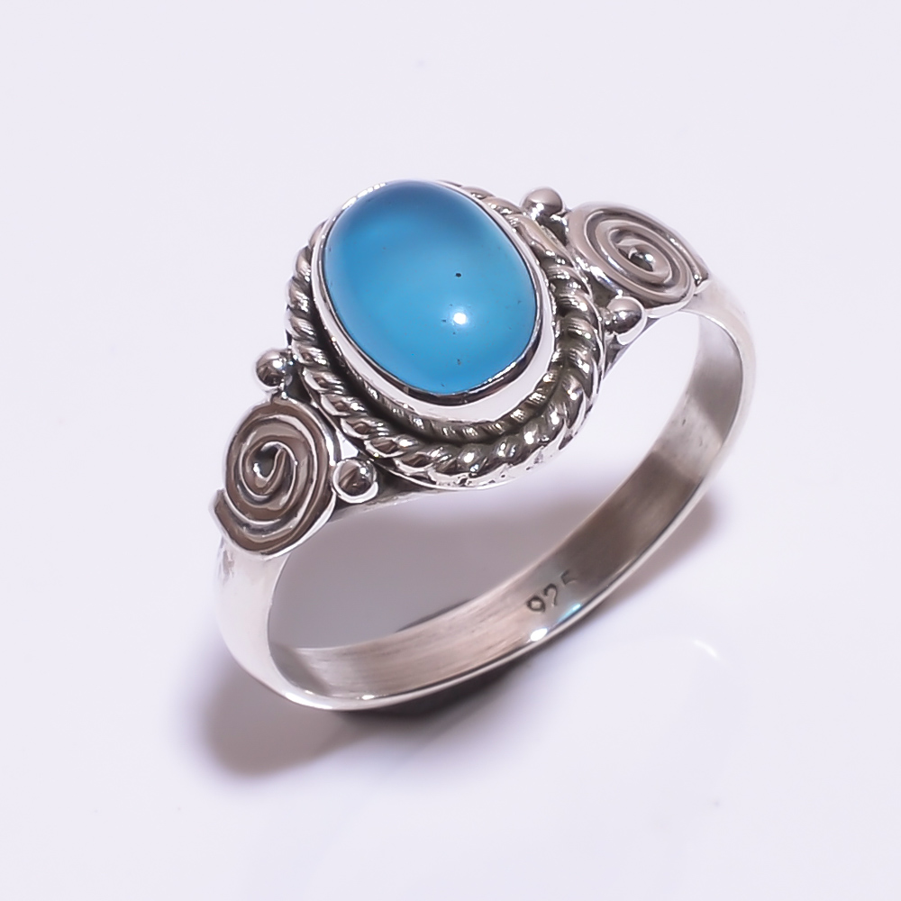 925 STERLING SILVER AQUA CALCITE BEAUTIFUL RING