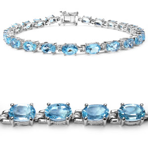925 Silver Blue Quartz Bracelete